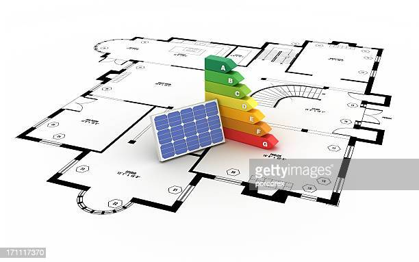 Energy Efficiency Diagram with Solar Panel  on Arquitectual Drawing