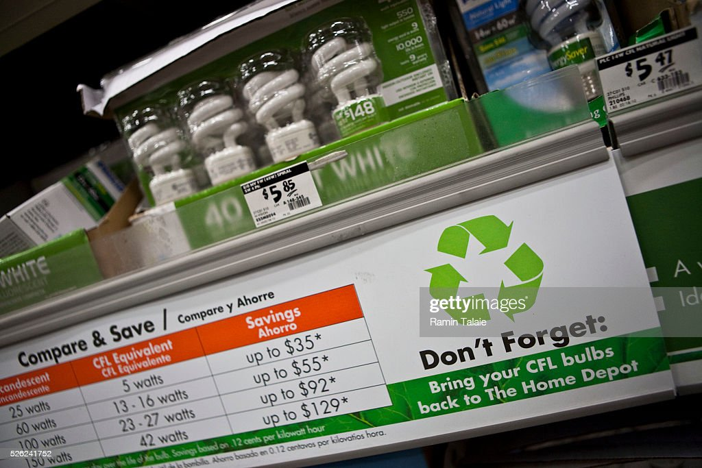 Energy Efficient Light Bulbs Are On Disply At A Home Depot