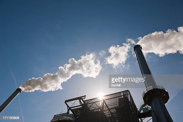 energy from waste - incinerator chimneys - incinerator stock photos and pictures