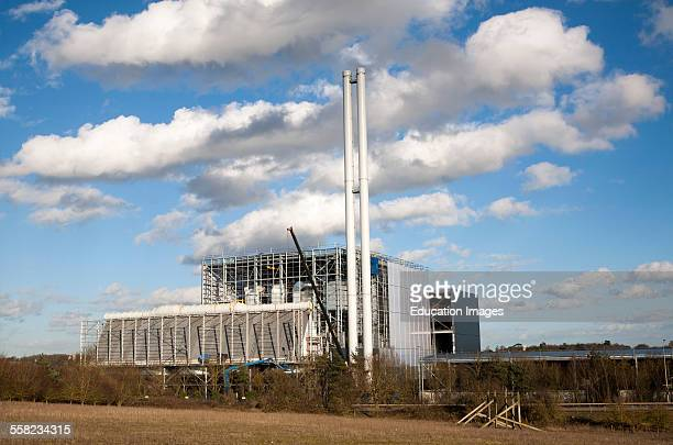 Energy from waste incinerator power station under construction at Great Blakenham Suffolk England in February 2014