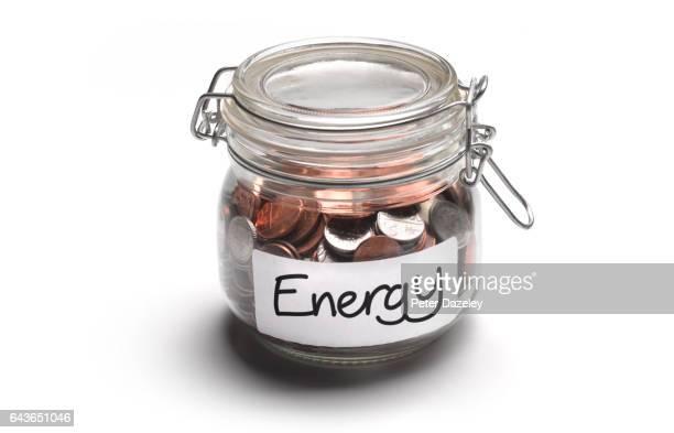 Energy jar of money coins