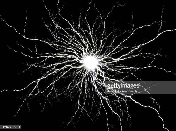 energy, lightning on black background. - 電気 ストックフォトと画像