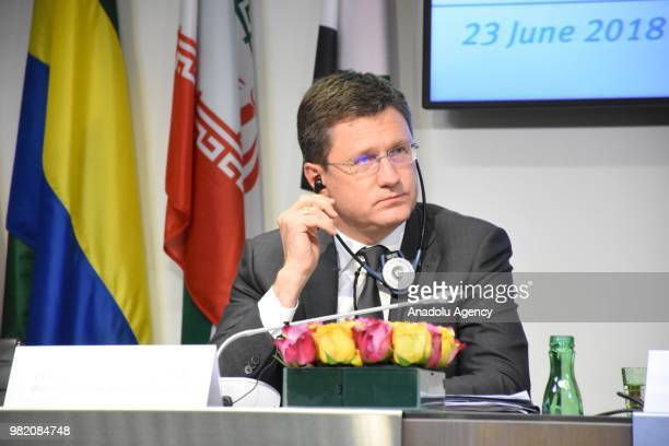 Energy Minister of Russia Alexander Novak attends a news conference after a meeting of the 4th Organisation of Petroleum Exporting Countries and...