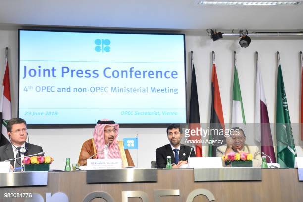 Energy Minister of Russia Alexander Novak Saudi Arabian Energy Minister Khalid Al Falih the UAE Minister of Energy and Industry Suhail Mohammad Al...