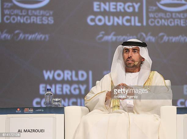 Energy Minister Suhail Mohammed Faraj Al Mazroui attends a session titled Ministerial dialogue Transition a country in a decade during the 23rd World...