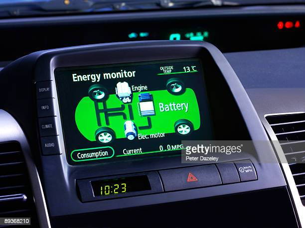 energy monitor for electric car, hybrid car. - hybrid car stock photos and pictures