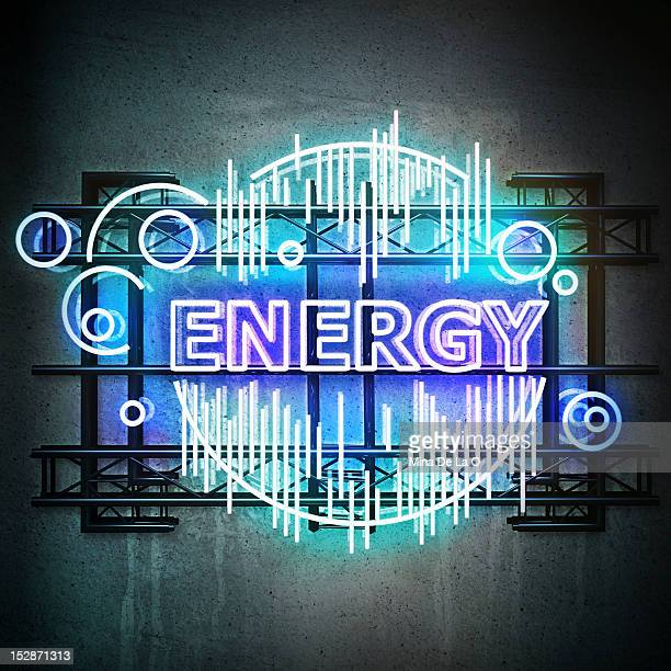 energy - neon letters stock photos and pictures