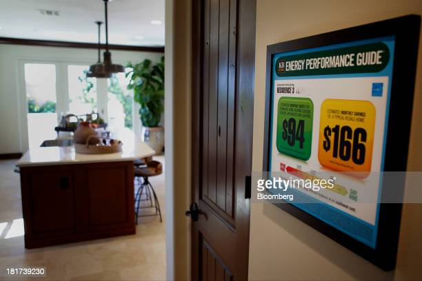 Energy saving features are advertised on a sign inside a model home of the KB Home's The Garden Hill at Portola Springs housing community in Irvine,...