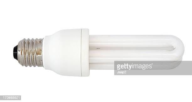 Energiesparende Glühbirne Seitenansicht, isoliert auf weiss