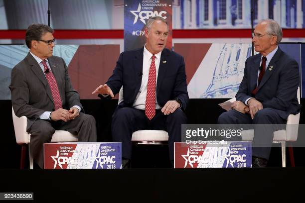 Energy Secretary Rick Perry and Interior Secretary Ryan Zinke address the Conservative Political Action Conference at the Gaylord National Resort and...