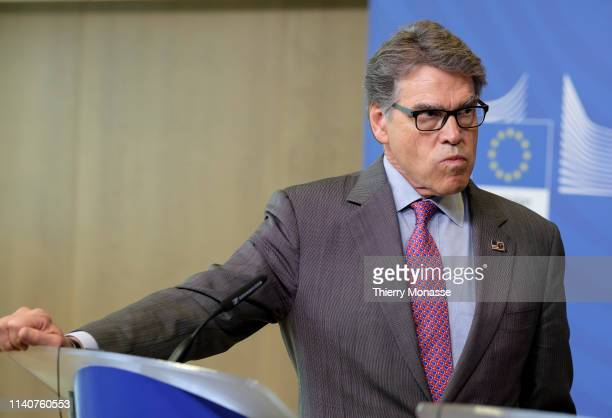 Energy Secretary Rick Perry and the European Commissioner for Climate Action and Energy talk to journalists during a joint news conference on the...