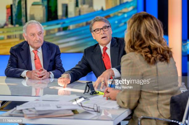 S Energy Secretary Rick Perry Former Citigroup CEO and Chairman Sandy Weill with Anchor Maria Bartiromo as they visit Mornings With Maria at Fox...