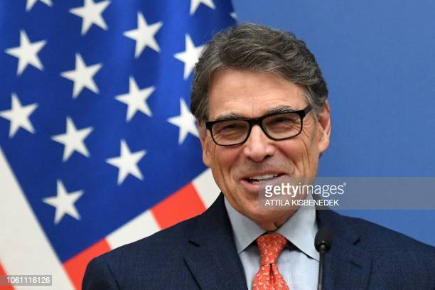 US Energy Secretary Rick Perry speaks during a joint press conference with Hungary's Minister of Foreign Affairs and Trade after a meeting on...