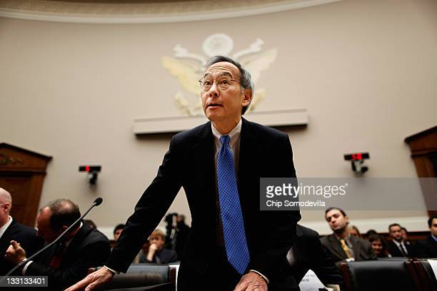 Energy Secretary Steven Chu arrives to testify before the House Energy and Commerce Committee's Oversight and Investigations Subcommittee hearing...