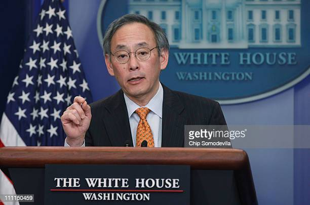 S Energy Secretary Steven Chu holds a news briefing in the Brady Press Briefing Room at the White House March 30 2011 in Washington DC Chu answered...
