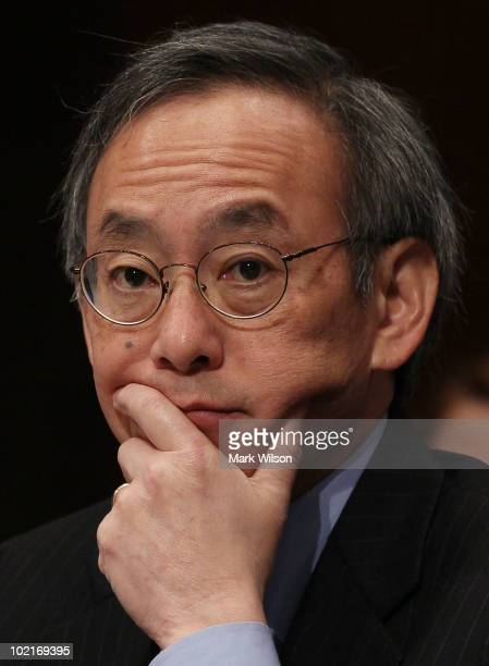 Energy Secretary Steven Chu participates in a Senate Armed Services Committee hearing on Capitol Hill June 17 2010 in Washington DC The committee is...