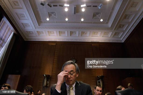 S Energy Secretary Steven Chu prepares to testify before the Senate Energy and Natural Resources Committee on Capitol Hill February 16 2011 in...