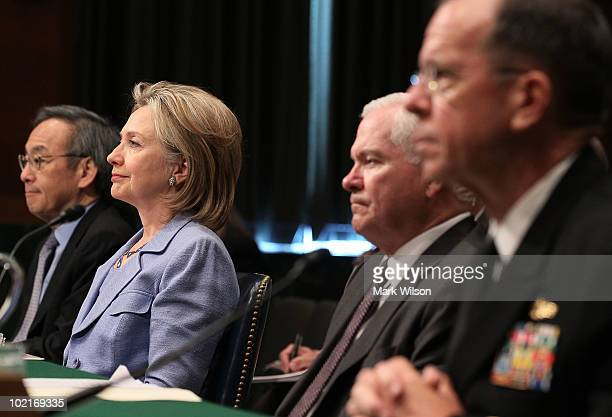 Energy Secretary Steven Chu Secretary of State Hillary Clinton Defense Secretary Robert Gates and Chairman of the Joint Chiefs of Staff Adm Michael...