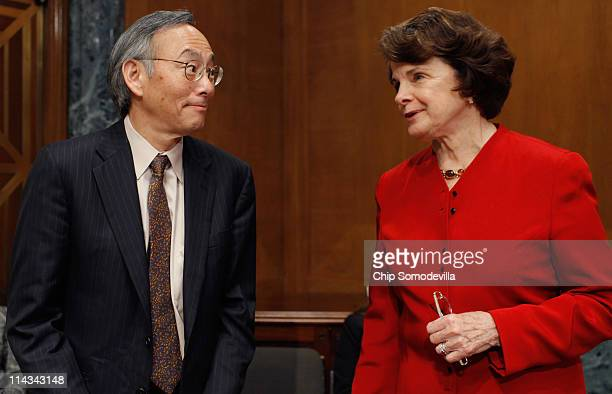 Energy Secretary Steven Chu talks with Senate Appropriations Committee Energy and Water Development Subcommittee Chairman Dianne Feinstein before a...