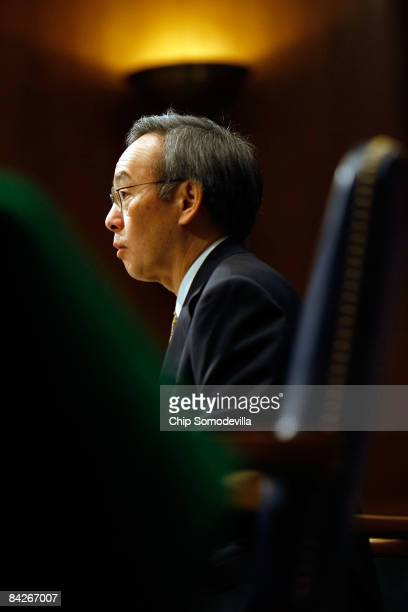 Energy Secretarydesignate Steven Chu is testifies during his confirmation hearing before the Senate Energy and and Natural Resources Committee in the...