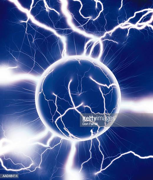 Energy sphere emanating streaks of electricity
