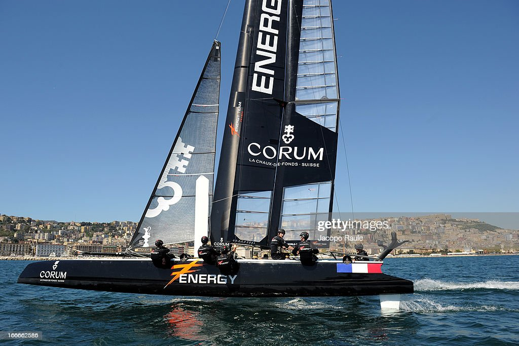 Energy Team skippered by Yann Guichard sails during a training session ahead of the AC World Series Naples on April 15, 2013 in Naples, Italy.