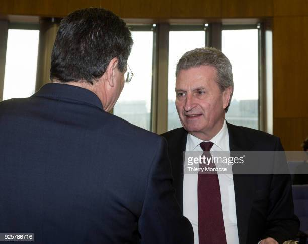 Energy Union Commissioner Maros Sefcovic is talking with the EU Budget Human Resources Commissioner Günther Oettinger prior to the weekly meeting of...