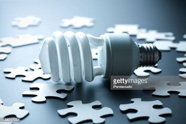 Energy-saving light bulb and puzzle pieces