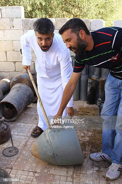 Enes Abdulhamid Zir Commander of Yusuf al'Azma Brigade of the Free Syrian with a missile from President Assad's forces oon September 62013 near...