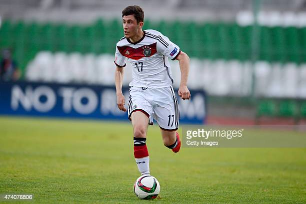 Enes Akyol of Germany U17 in action during the UEFA European Under17 Championship Semi Final match between Germany U17 and Russia U17 at Beroe...