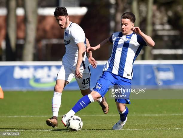 Enes Akyol of Hertha U19 and Alexander Baumjohann of Hertha BSC during the test match between Hertha BSC and Hertha U23 on March 24 2017 in Berlin...