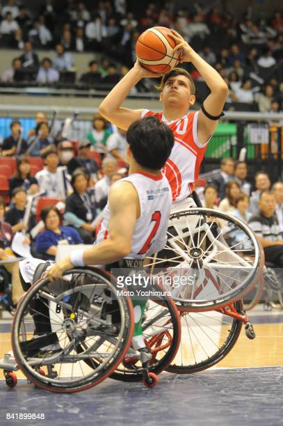 Enes Bulut of Turkey shoots during the Wheelchair Basketball World Challenge Cup third place match between Turkey and Japan at the Tokyo Metropolitan...