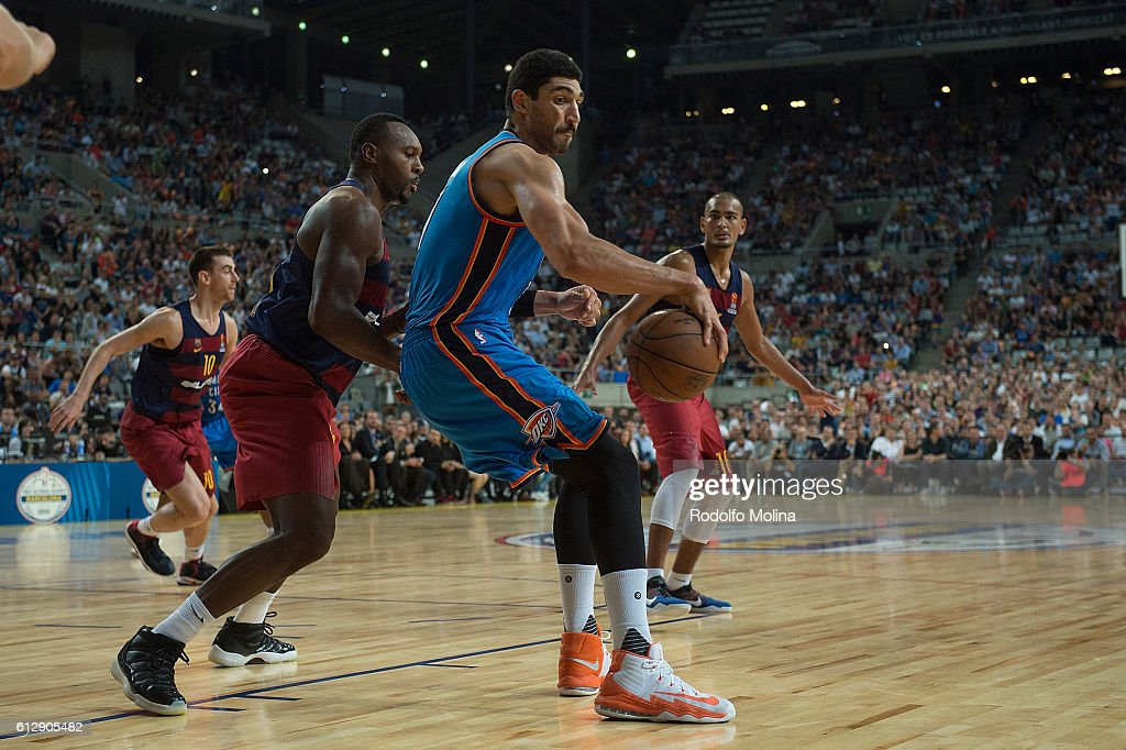 Enes Kanter, #11 of Oklahoma City Thunder competes with Joey Dorsey, #6 of FC Barcelona Lassa during the NBA Global Games Spain 2016 FC Barcelona Lassa v Oklahoma City Thunder at Palau Sant Jordi on October 5, 2016 in Barcelona, Spain.