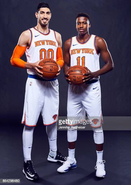Enes Kanter and Frank Ntilikina of the New York Knicks pose for a portrait during Media Day on September 25 2017 at Knicks Practice Facility in...