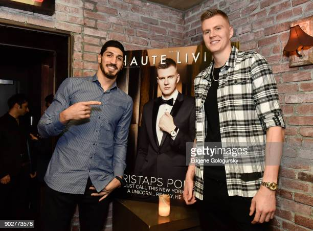 Enes Kanter and Kristaps Porzingis attend the Haute Living Honoring of Kristaps Porzingis With Jaquet Droz at TAO Downtown on January 8 2018 in New...