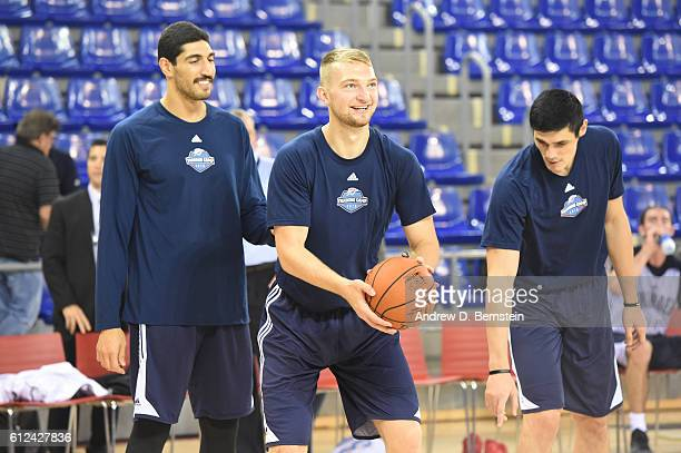 Enes Kanter Domantas Sabonis and Ersan Ilyasova of the Oklahoma City Thunder participate during practice and media availability as part of the 2016...