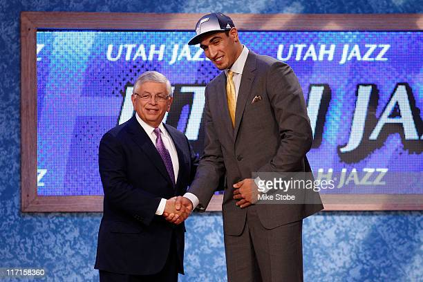 Enes Kanter from Istanbul Turkey greets NBA Commissioner David Stern after he was selected overall by the Utah Jazz in the first round during the...