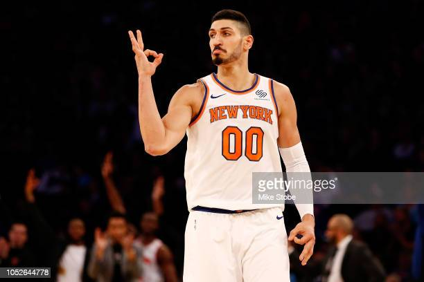 Enes Kanter of the New York Knicks celebrates after hitting a three point basket against the Boston Celtics at Madison Square Garden on October 20...