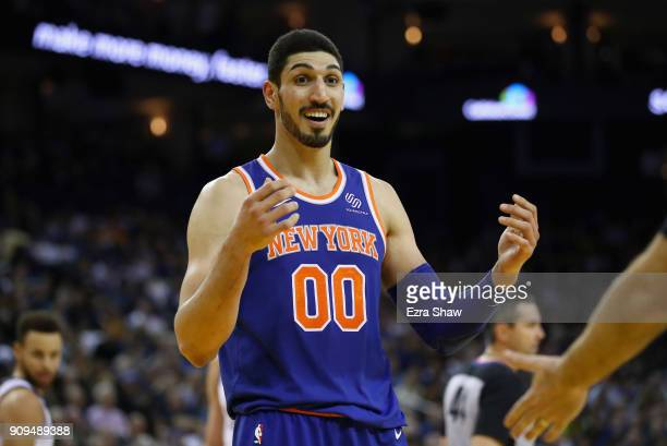 Enes Kanter of the New York Knicks complains about a call during their game against the Golden State Warriors at ORACLE Arena on January 23 2018 in...
