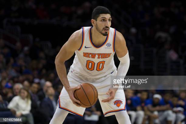 Enes Kanter of the New York Knicks controls the ball against the Philadelphia 76ers at the Wells Fargo Center on November 28 2018 in Philadelphia...