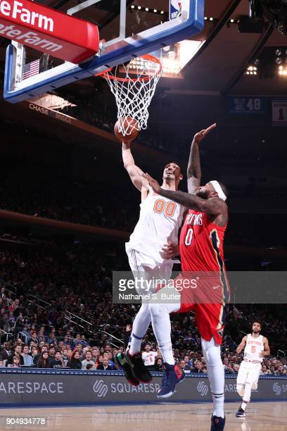 Enes Kanter of the New York Knicks goes to the basket against the New Orleans Pelicans on January 14 2018 at Madison Square Garden in New York City...