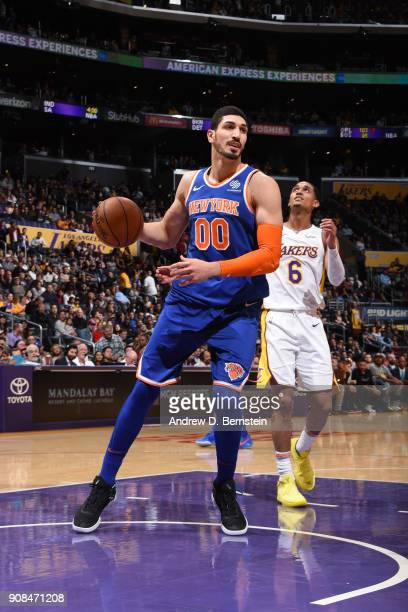 Enes Kanter of the New York Knicks handles the ball against the Los Angeles Lakers on January 21 2018 at STAPLES Center in Los Angeles California...