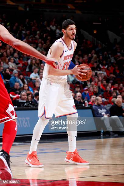 Enes Kanter of the New York Knicks handles the ball against the Chicago Bulls on December 9 2017 at the United Center in Chicago Illinois NOTE TO...