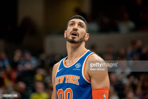 Enes Kanter of the New York Knicks looks to the crowd during a game against the Indiana Pacers at Bankers Life Fieldhouse on December 16 2018 in...