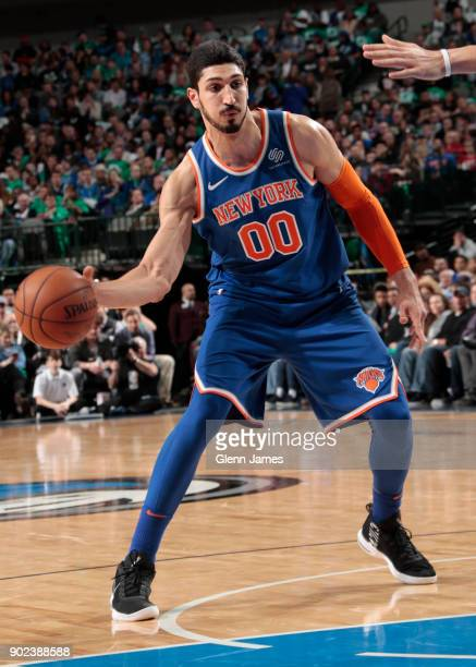 Enes Kanter of the New York Knicks passes the ball against the Dallas Mavericks on January 7 2018 at the American Airlines Center in Dallas Texas...