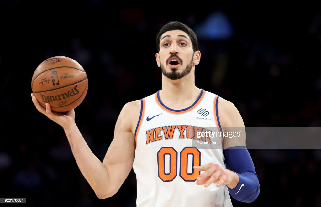 536658ee2b1 Enes Kanter of the New York Knicks reacts in the second half against ...