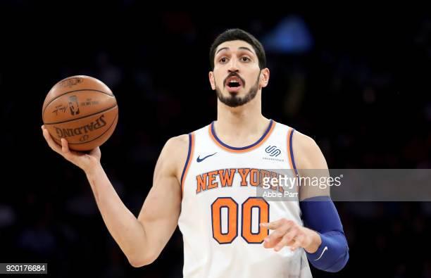 Enes Kanter of the New York Knicks reacts in the second half against the Washington Wizards during their game at Madison Square Garden on February 14...