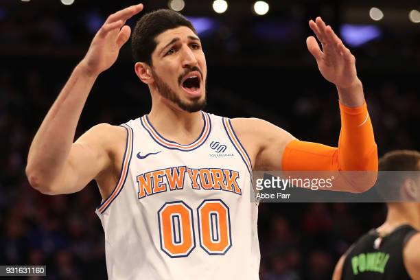 Enes Kanter of the New York Knicks reacts in the second quarter against the Dallas Mavericks during their game at Madison Square Garden on March 13...