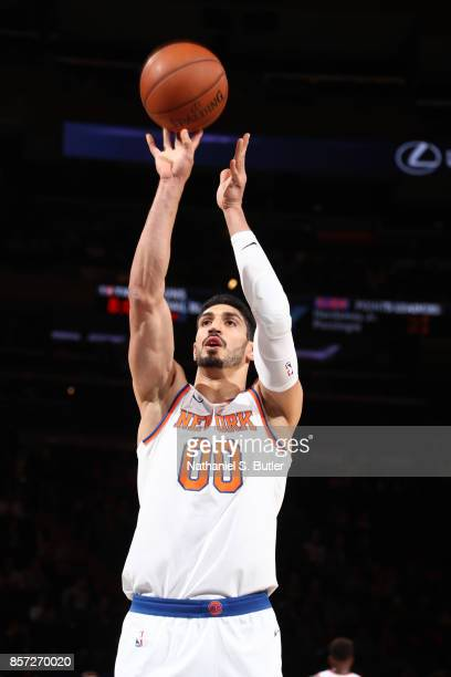 Enes Kanter of the New York Knicks shoots a free throw against the Brooklyn Nets during the preseason game on October 3 2017 at Madison Square Garden...