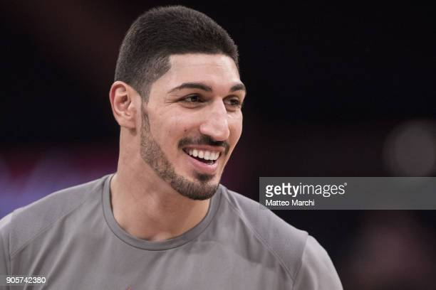 Enes Kanter of the New York Knicks smiles before the game against the New Orleans Pelicans at Madison Square Garden on January 14 2018 in New York...